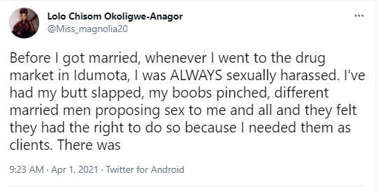 Lady narrates how men at popular market stopped harassing her after she declared marriage plans
