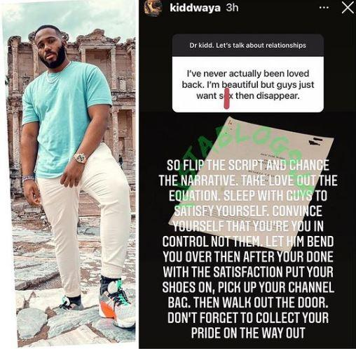 Kiddwaya love lady advice