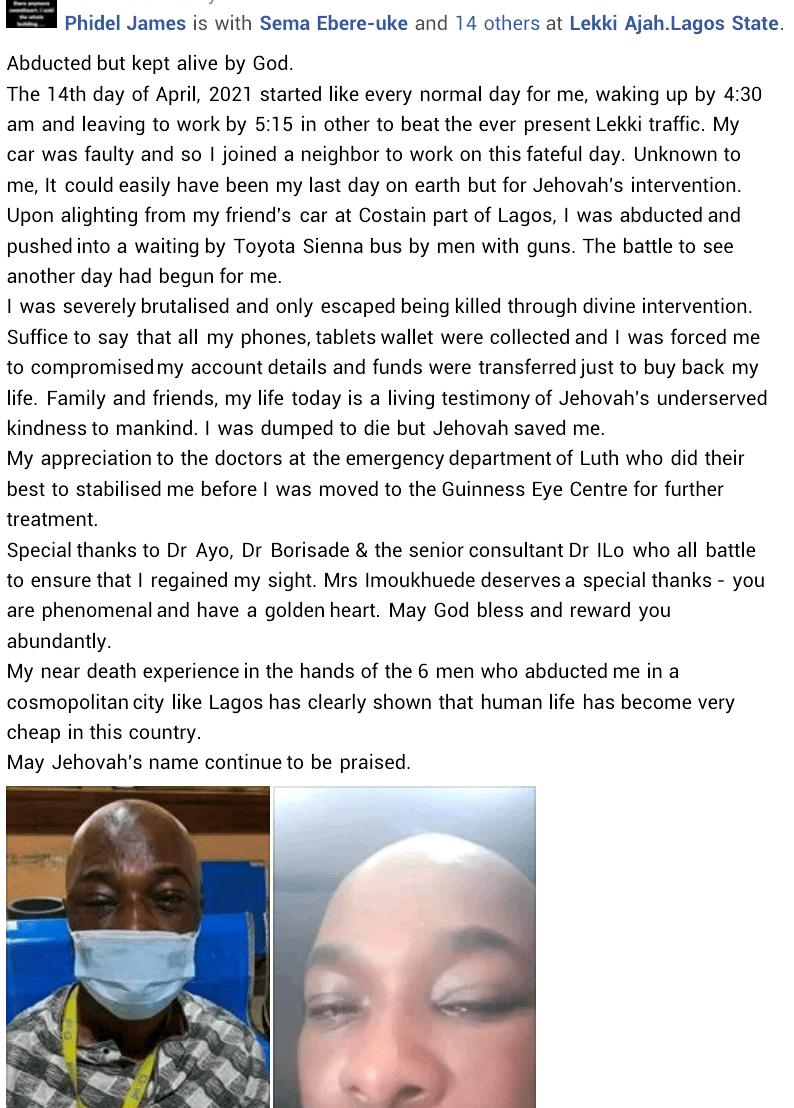 Kidnappers Gunmen Man Experience