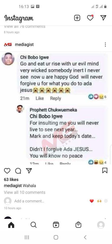 Prophet Odumeje Curse Facebook user Ada Jesus'