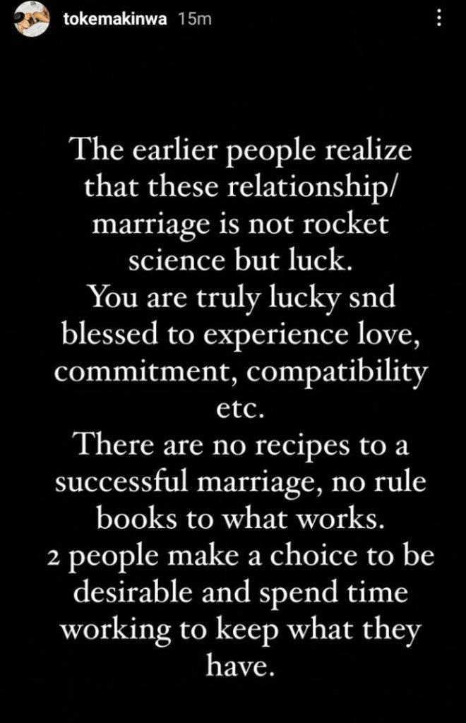 """""""If you like, read all the book in the world, marriage is nothing but luck"""" - Toke Makinwa"""