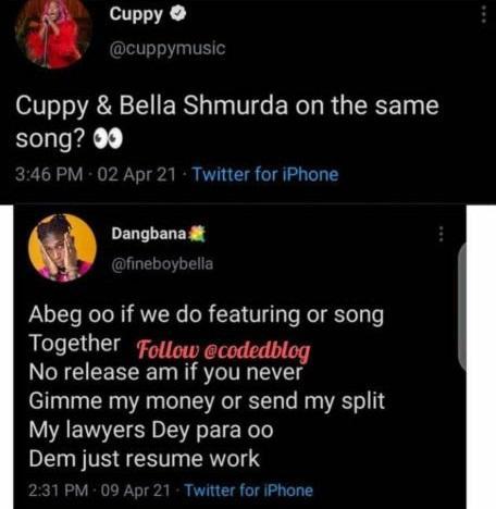"""Pay me, my lawyers dey para"" - Bella Shmurda shades DJ Cuppy over future collaboration"