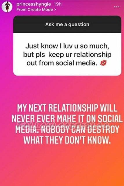 Princess Shyngle vows to keep her next relationship off social media