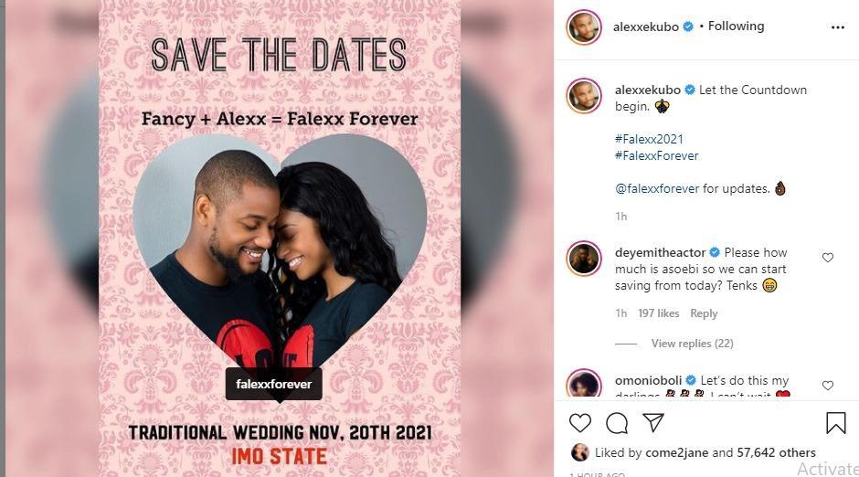 Alex Ekubo wedding date