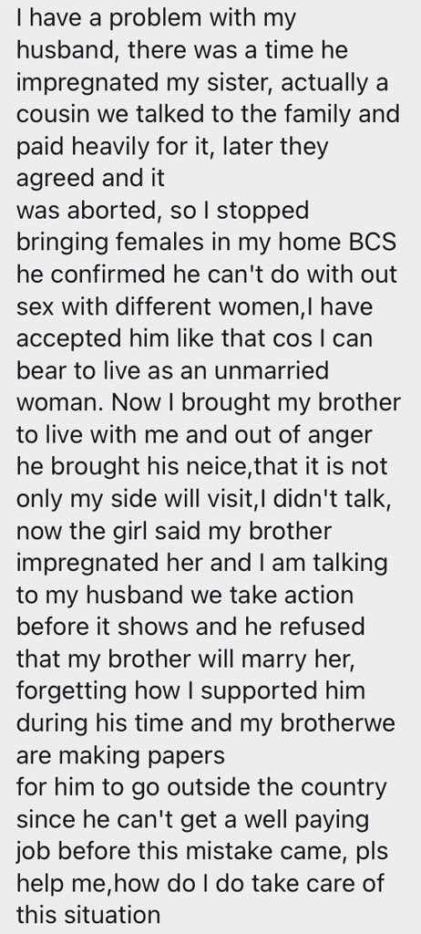 """""""My husband once aborted for my sister"""" - Woman laments as brother impregnates husband's niece"""