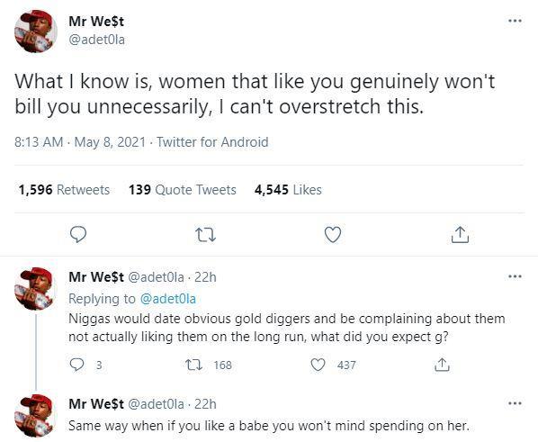 """Women that like you won't bill you, stop dating gold diggers"" - Man"