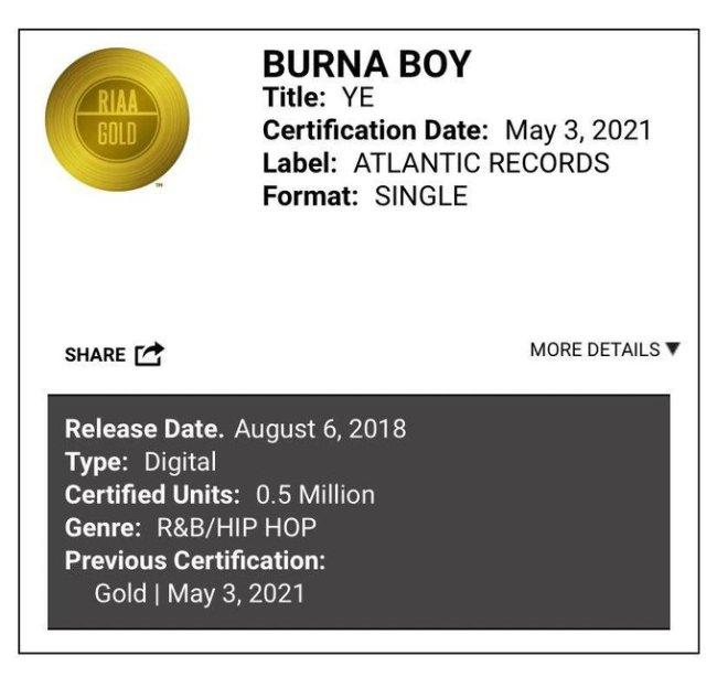 """""""Still Striving"""" - Burna Boy says as 'Ye' gets certified Gold in the United States"""