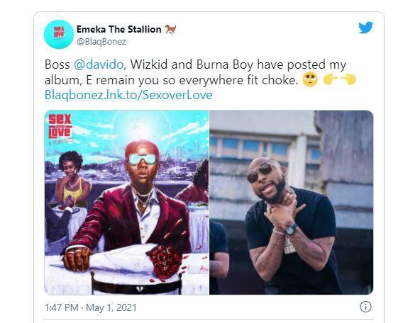 Blaqbonez pleads to Davido to promote his album after Burna Boy & Wizkid showed him love