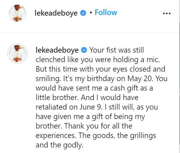 """""""Your fist was still clenched like you were holding a mic"""" - Leke Adeboye pens tribute to late brother"""