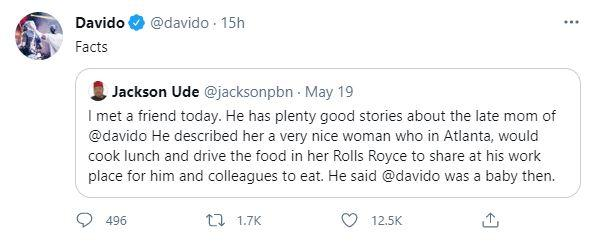 Davido reacts as journalist narrate findings about his late mother