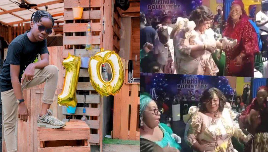 Wizkid's mother shows 'shaku shaku' dance at Tife's 10th birthday party (Video)