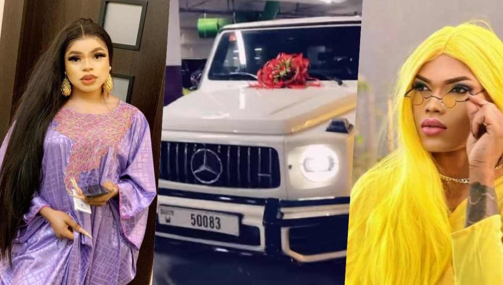 Bobrisky exposes counterpart, Goldtiful for showing off rented G-Wagon as his new whip