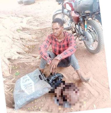 man caught human head
