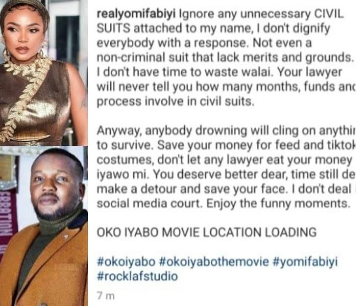 Save your money for TikTok- Yomi Fabiyi finally reacts to Iyabo Ojo's lawsuit