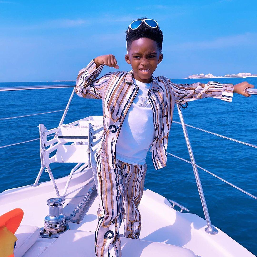 """Jamil follow you wife"" - Davido endorses Tiwa Savage son as his Daughter Imade's future husband (Video)"