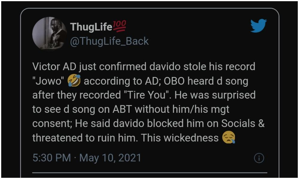 Nigerian man accuses Davido of stealing hit single 'Jowo' from singer Victor AD