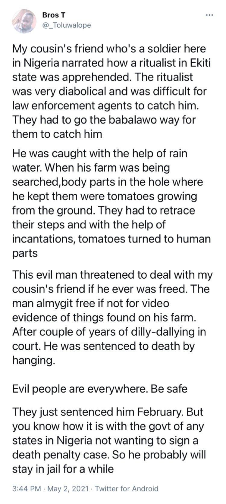 Man narrates how a ritualist was caught and served with capital punishment in Ekiti