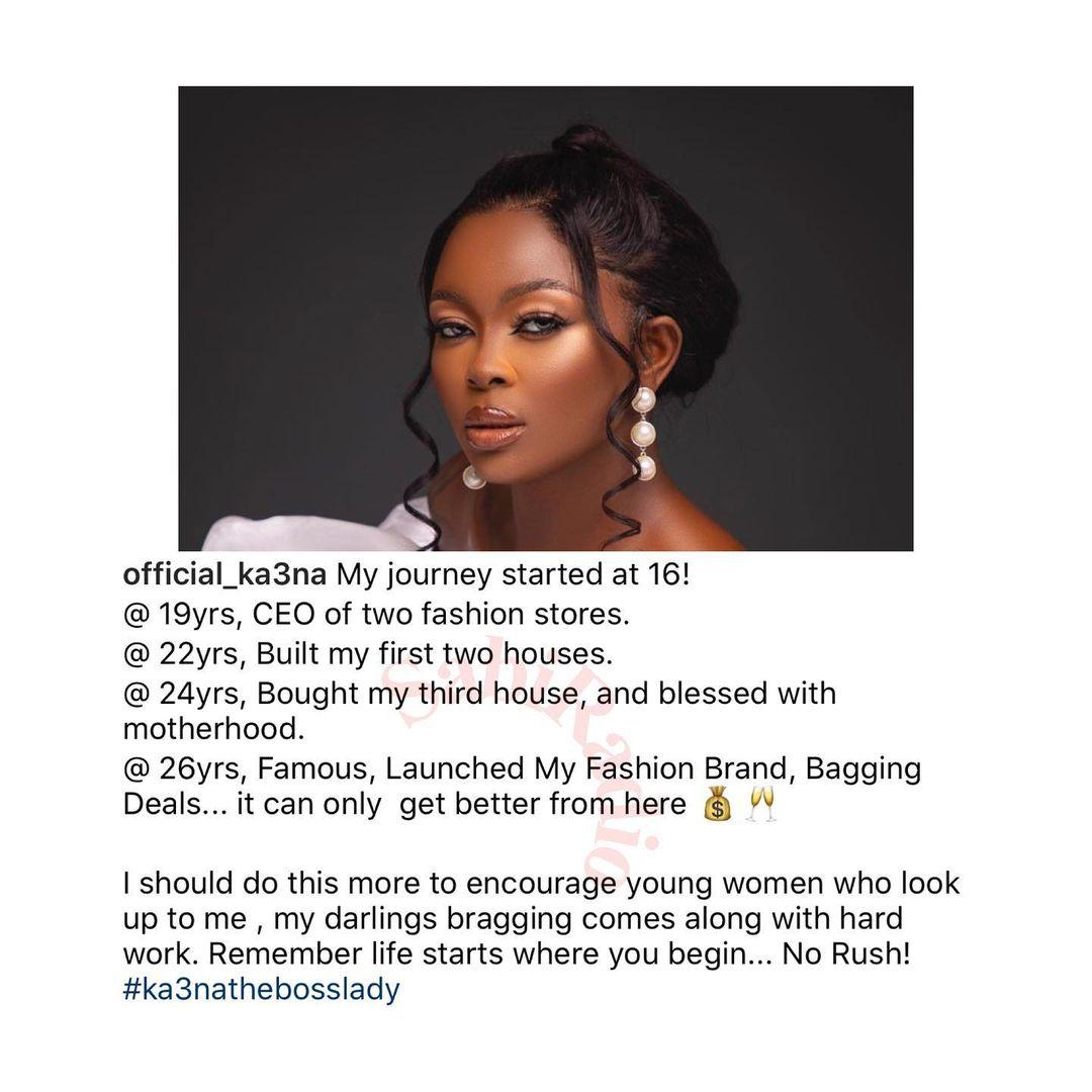 I built two houses at 22years old — BBNaija's Ka3na brags in new post
