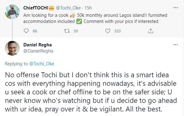 """""""This is neither smart nor safe"""" - Fan lectures reality star, Tochi over his search for good cook online"""