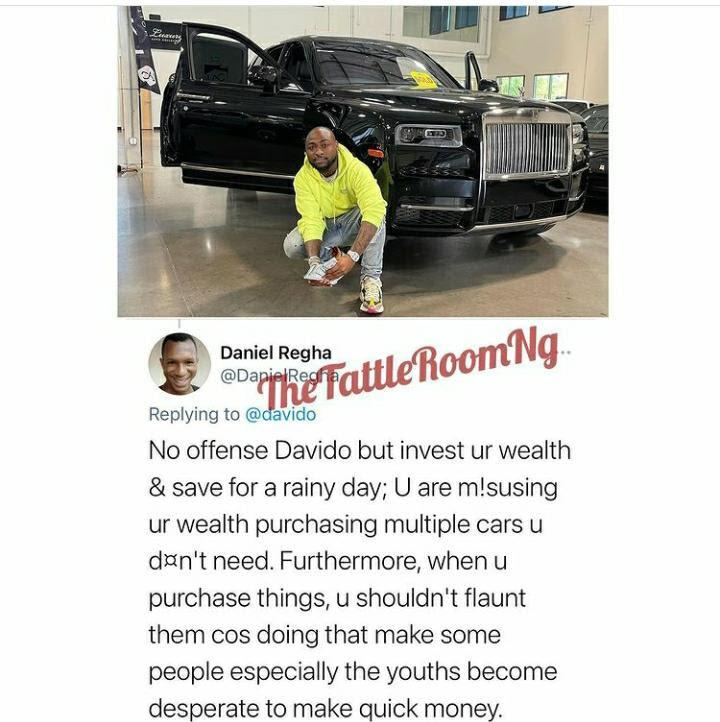 """""""You're misusing your wealth & making youths desperate"""" - Fan slams Davido for flaunting new car"""