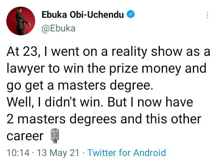 """""""At 23, I was a lawyer on a reality show"""" - Ebuka recounts baby steps that led to his success"""