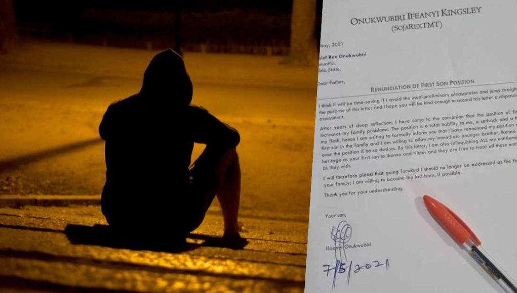 Man pens letter to family as he gives up his position as the first son