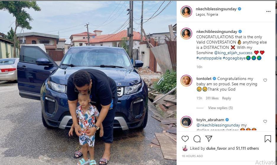 Nkechi blessing flaunts car