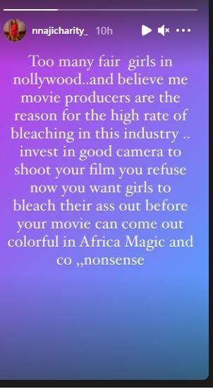 charity nnaji bleaching producers