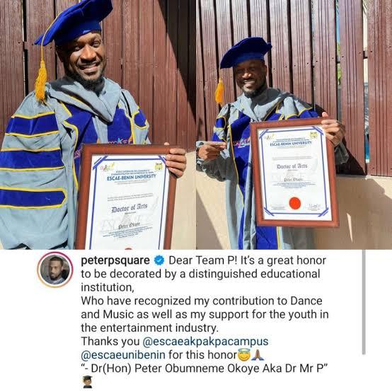 Singer Peter Okoye Bags Doctorate Degree