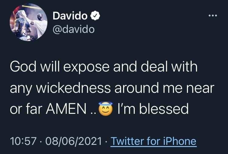 """""""God will expose any wickedness around me"""" - Davido prays over prophecy of being poisoned"""