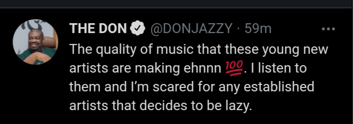 """""""I'm scared for any established artists that decides to be lazy"""" – Don Jazzy reveals"""