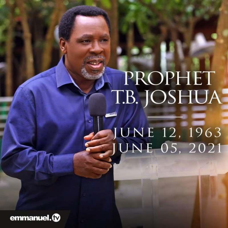 """God has taken his servant home"" - SCOAN confirms death of its founder, Pastor T.B. Joshua"