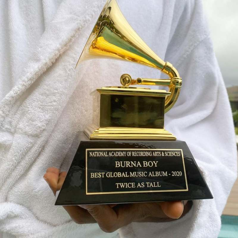 """""""I am a product of sacrifice"""" - Burna Boy says as he takes delivery of his Grammy Award (Video)"""