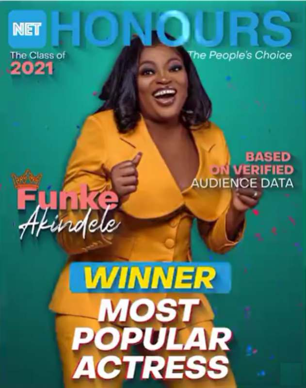 Net Honours 2021: Funke Akindele wins 'Most Popular Actress' for the second year in a row