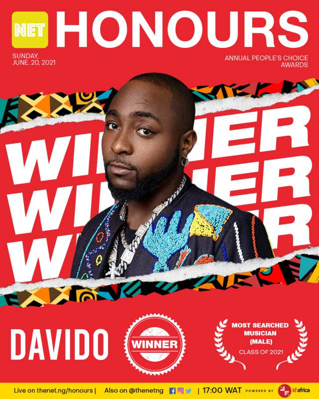 Net Honours 2021: Davido named 'Most Searched Male Musician' of the year twice in a row