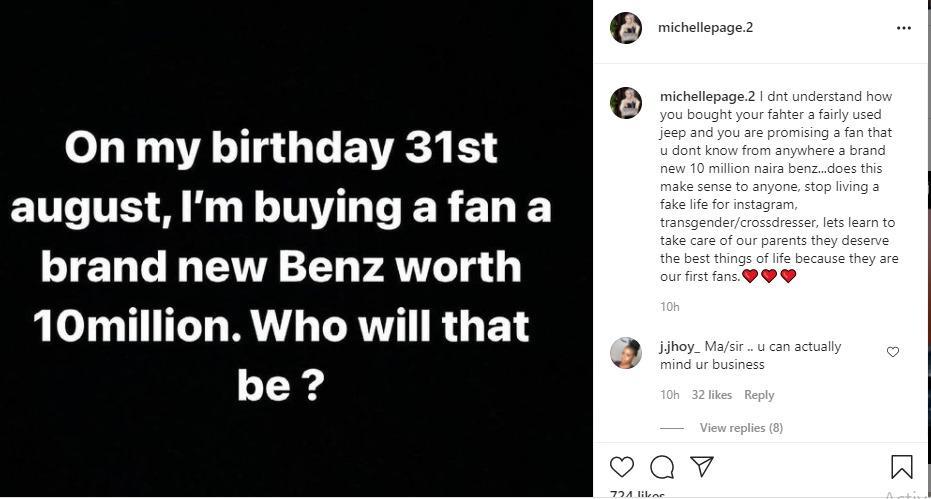 Michelle page bobrisky Birthday
