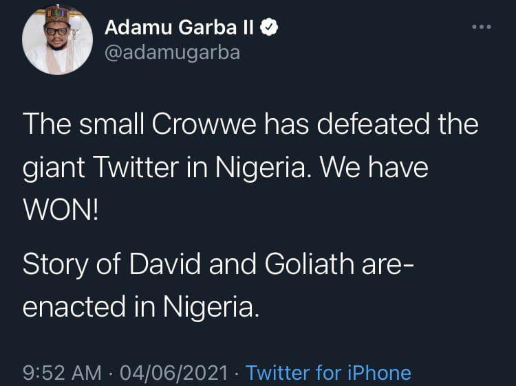 Adamu Garba reacts Crowwe
