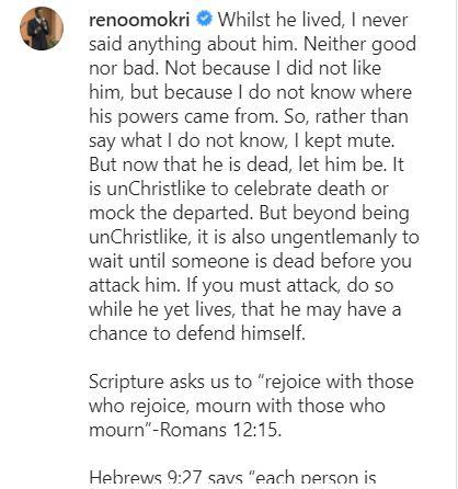 """Keep quiet or mourn; do not judge him"" - Reno Omokri slams those mocking death of T.B. Joshua"