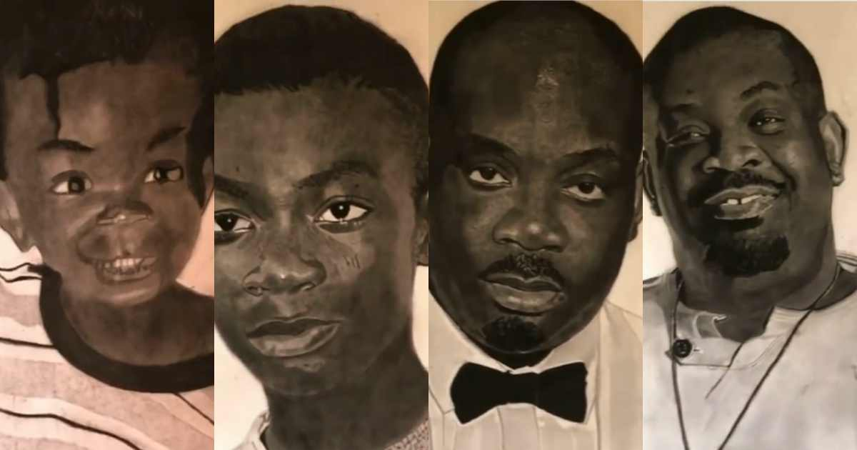 Don Jazzy gushes over artwork of him at different phases of his life (Video)