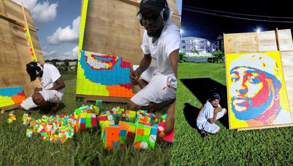 Man creates unique portrait of Davido using 800 Rubik's cubes (Video)