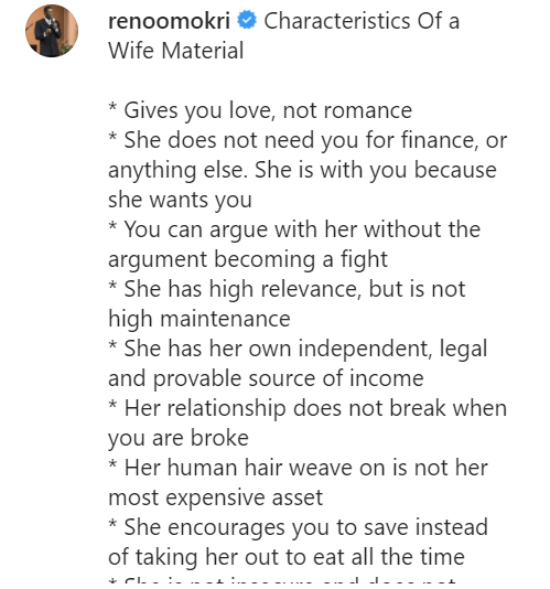 Reno Omokri lists the characteristics of a wife material