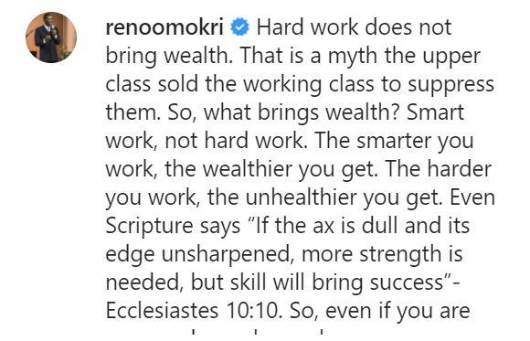 """Hard work does not bring wealth"" - Reno Omokri insists, calls it unhealthy"