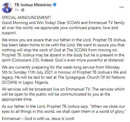 TB Joshua Burial Arrangement Synagogue