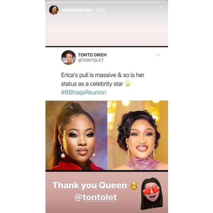 """""""I didn't say this, it's fake"""" - Tonto Dikeh reacts to photoshoped praises for Erica"""
