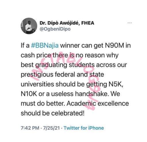 Dipo BBNaija graduating N90m