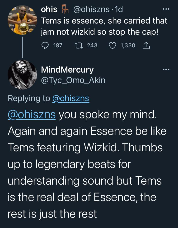 """""""Tems is the real deal on 'Essence' not Wizkid"""" - Man triggers reactions"""