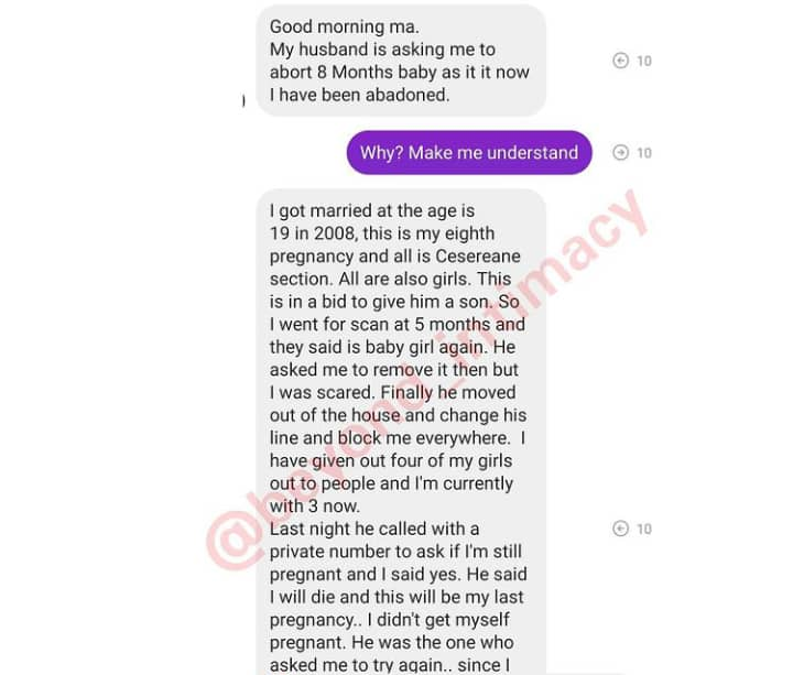 """""""My husband is asking me to abort my 8th months old pregnancy"""" - Woman narrates tearful ordeal"""