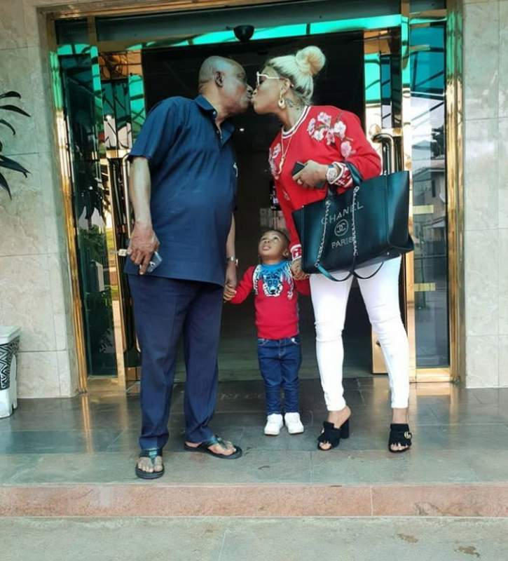 Tonto Dikeh reacts after being dragged for kissing her father mouth-to-mouth
