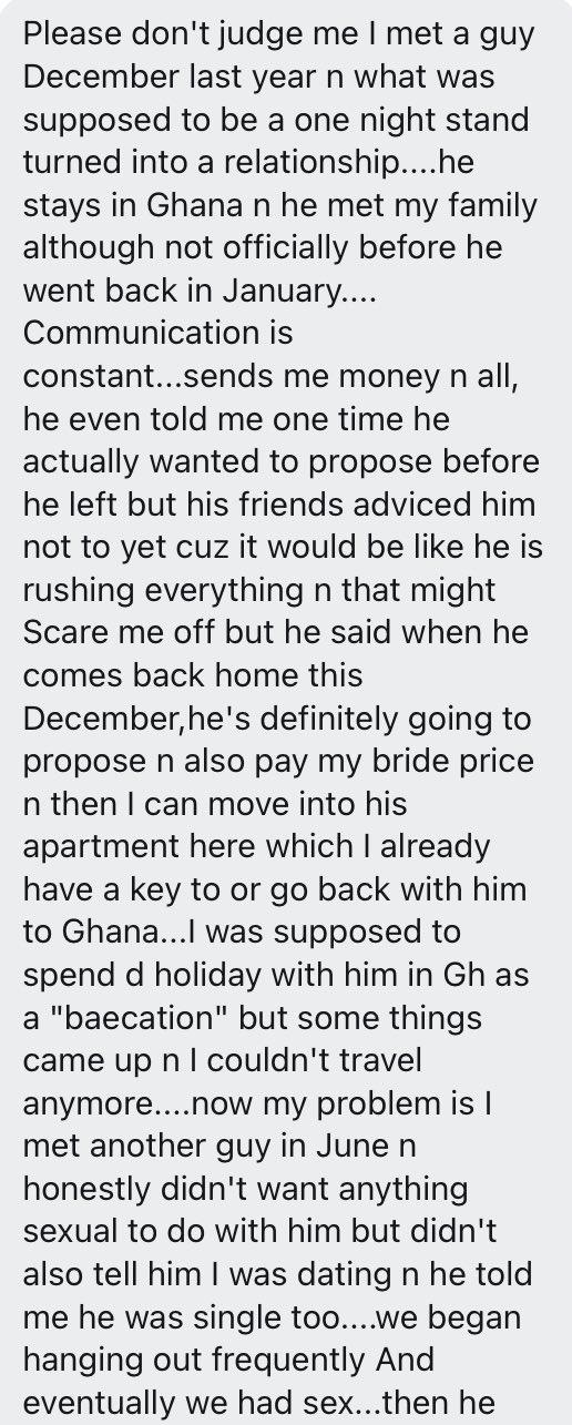 Lady who cheated on her boyfriend seeks advice after she got dumped
