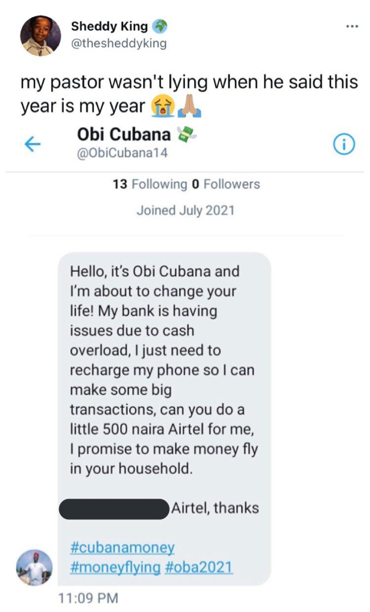 Man shares chat with individual who wanted to defraud him by impersonating Obi Cubana